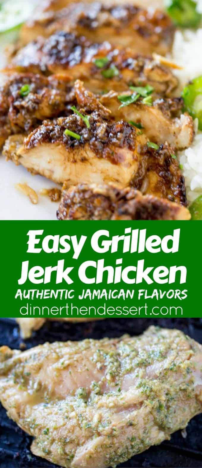 Easy Grilled Jerk Chicken made with a marinade that takes just a few seconds to make is the most flavorful authentic Jamaican chicken you'll grill all summer!