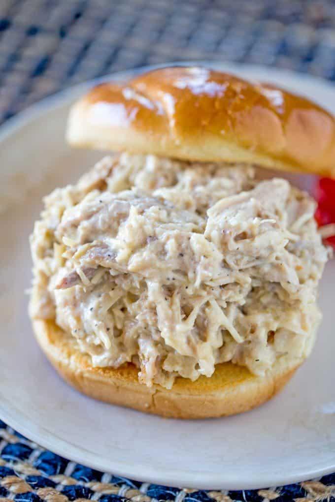 Slow Cooker Chicken Caesar sandwich with just a few ingredients.