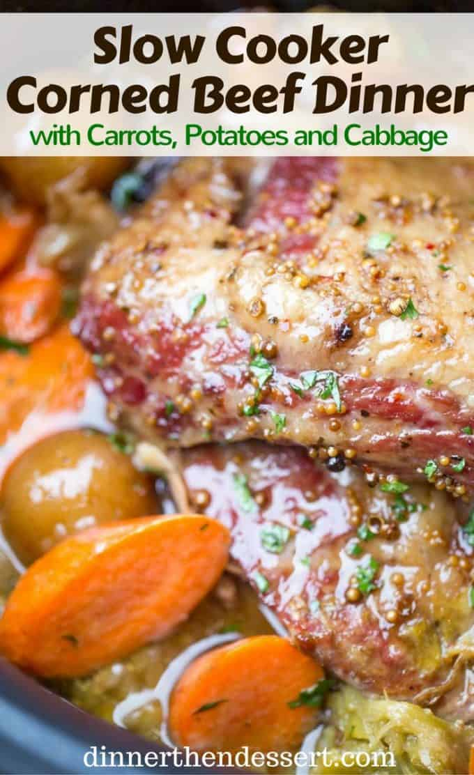 Slow Cooker Corned Beef Dinner all made in one pot with cabbage, potatoes and carrots for the perfect easy St. Patrick's Day dinner you can just set and forget.