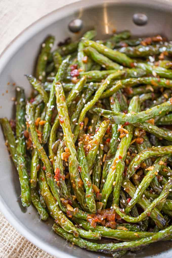 Spicy chinese sichuan green beans dinner then dessert spicy chinese sichuan green beans are the perfect easy side dish to your favorite chinese meal forumfinder Choice Image