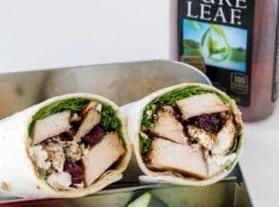 Balsamic Chicken Goat Cheese Wraps made with balsamic roasted chicken breasts, arugula, pecans, cranberries and goat cheese and topped with a wonderful balsamic glaze. The perfect lunch on the go.