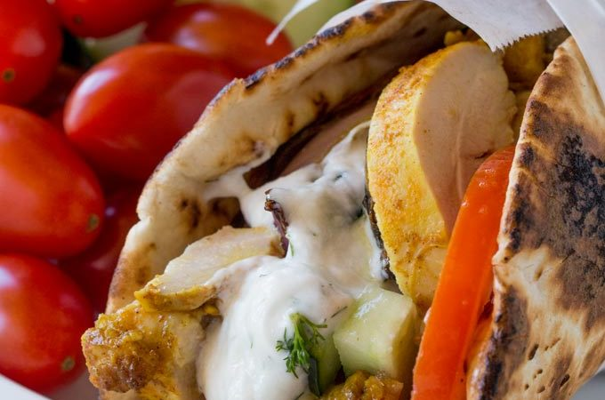 Chicken Shawarma Pita Wraps with Dill Yogurt Sauce