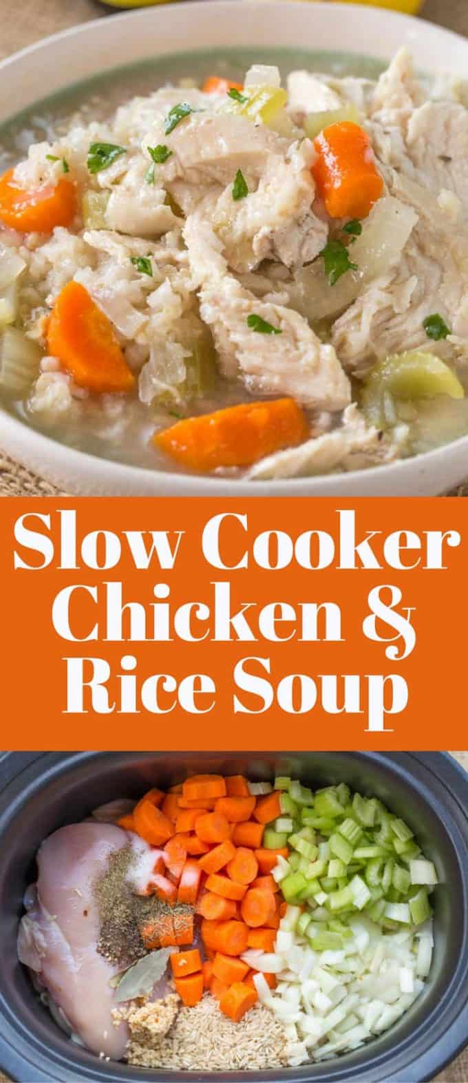 Slow Cooker Chicken and Rice Soup with brown rice and chicken breasts, this soup is comforting and warm with no extra added fat and with the use of lemon extract it can be made from pantry ingredients any time of year.
