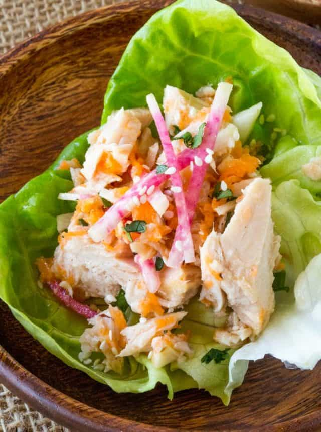 Asian Tuna Salad Lettuce Cups made with solid white albacore tuna in just minutes have all the flavors of your favorite Asian salad with added protein. Perfect for lunch!