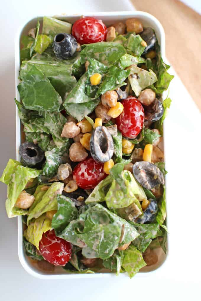 Chickpea Tex Mex Salad packed for a healthy lunch.