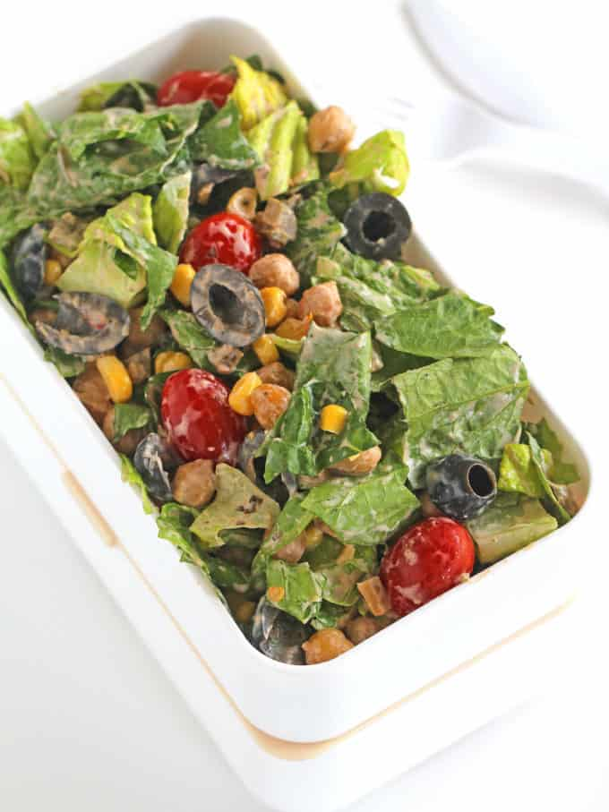 Chickpea Tex Mex Salad served in a lunchbox for the perfect easy healthy lunch.