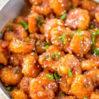 Honey Orange Firecracker Shrimp is sweet, spicy, sticky and crispy and so easy to make you'll throw your Chinese food takeout menus away!