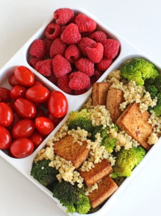 Marinated Tea Tofu and Broccoli with Quinoa is a healthy, flavorful lunch option with crispy marinated tofu over fluffy quinoa. A perfect lunch option.