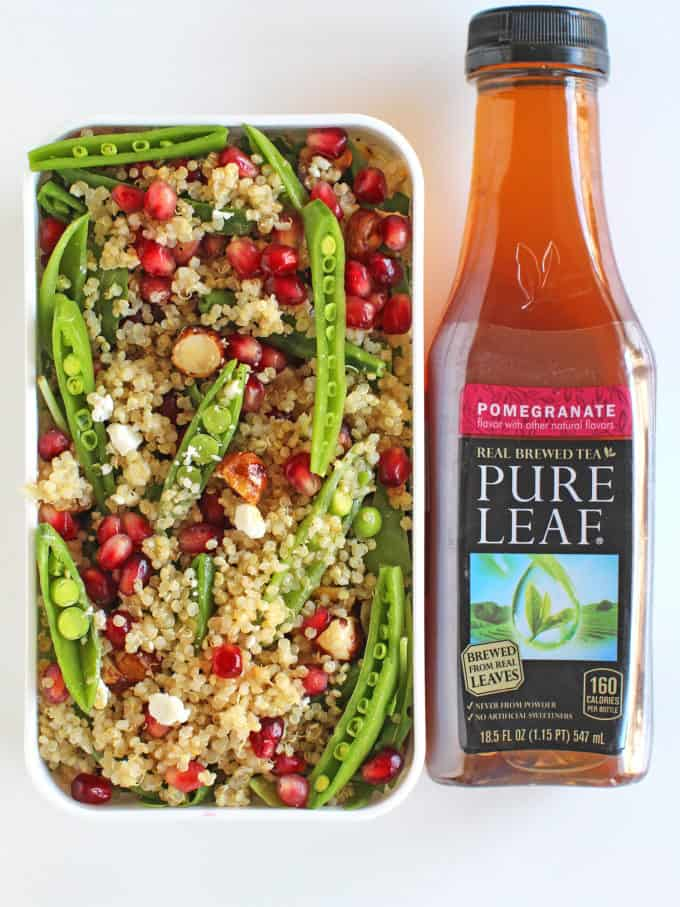 Pomegranate Quinoa Salad with Tea Vinaigrette with crunchy hazelnuts, creamy goat cheese and fluffy quinoa is a delicious and healthy lunch option you'll love.