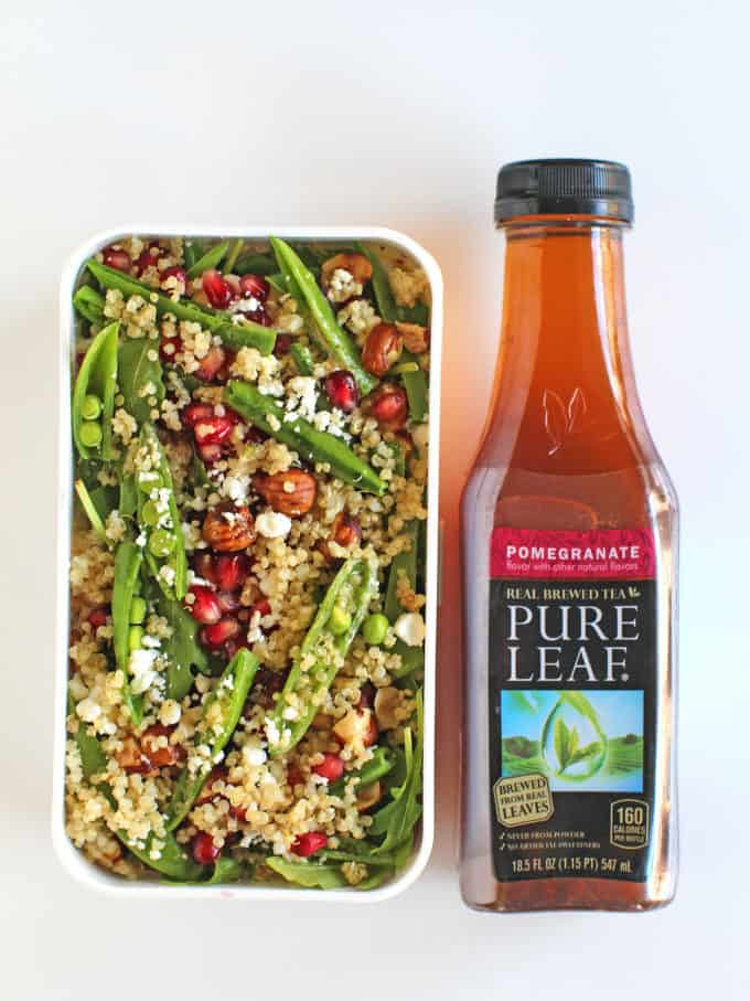 Pomegranate Quinoa Salad with Tea Vinaigrette pairs perfectly with Pomegranate Iced Tea