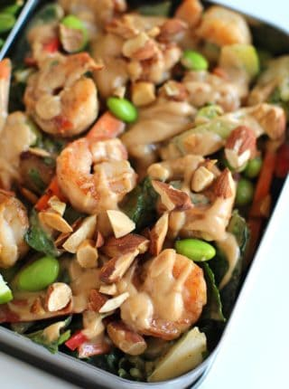 Shrimp Thai Crunch Salad made with a delicious and EASY peanut sesame dressing and topped with crispy shrimp and crunchy almonds. The perfect salad you'll crave everyday!