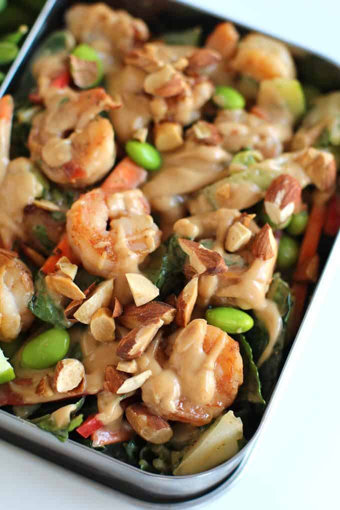 Shrimp Thai Crunch Salad made with a delicious and EASY peanut sesame dressing and topped with crispy shrimp and crunchy almonds. The perfect salad you'll crave every day!