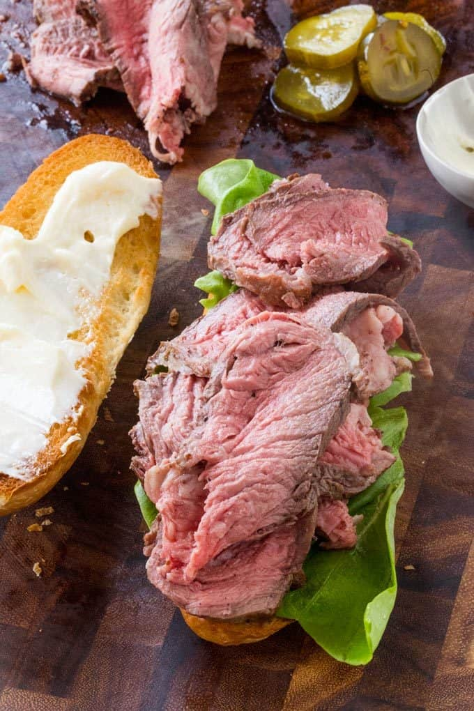Slow Cooker Roast Beef Sandwiches with homemade horseradish that take less than two hours from start to finish and tastes amazing!