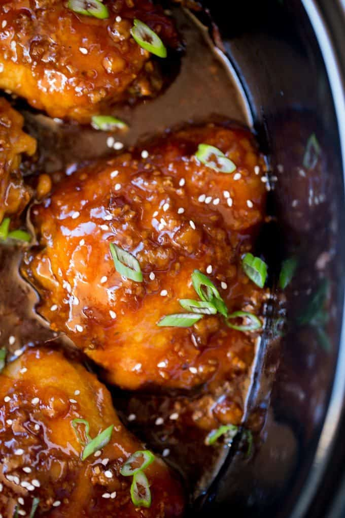 Teriyaki Chicken cooking in crock pot