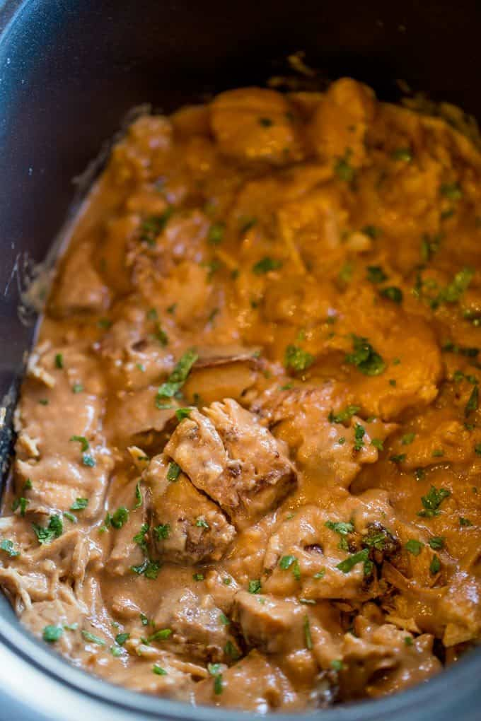 Slow Cooker Thai Peanut Chicken - Dinner, then Dessert