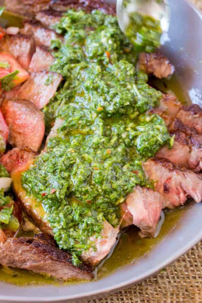 Chimichurri marinade or sauce served with meat