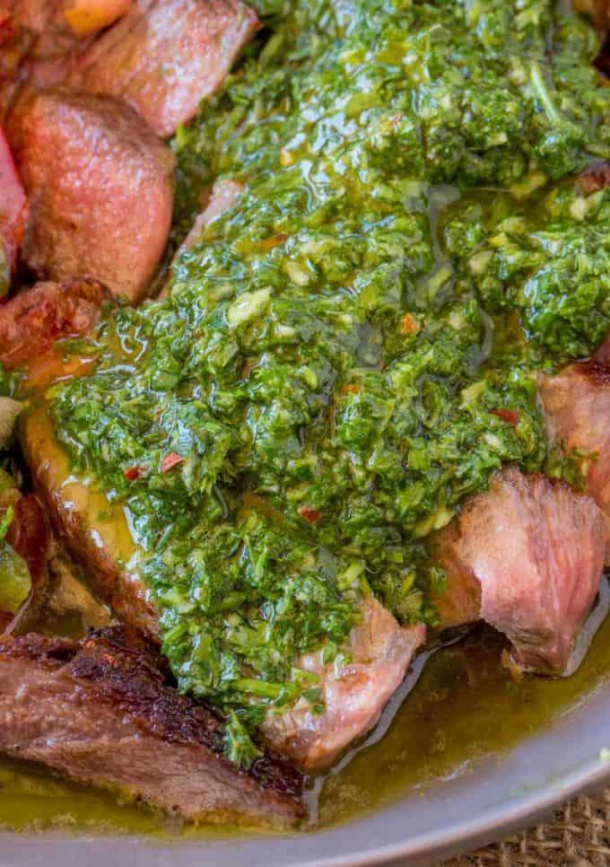 Chimichurri Sauce on top of steak