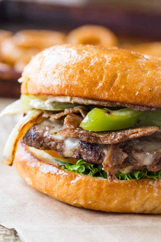 Philly Cheese Steak Burger that is easy to make and the best of both worlds, sub and burger!