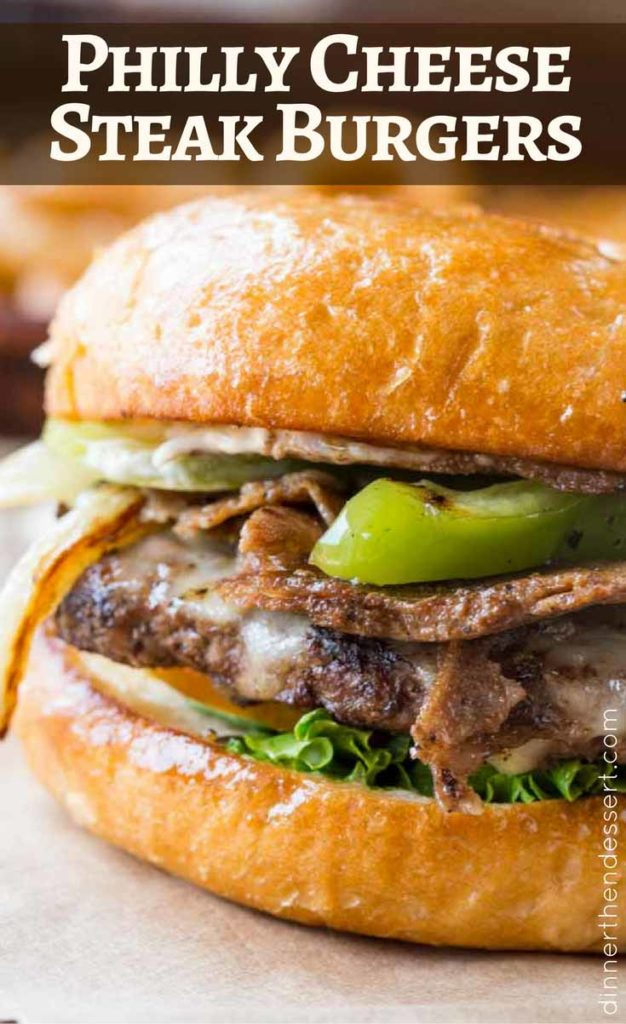 Philly Cheese Steak Burgers made with thinly sliced ribeye, provolone, bell peppers and onions.