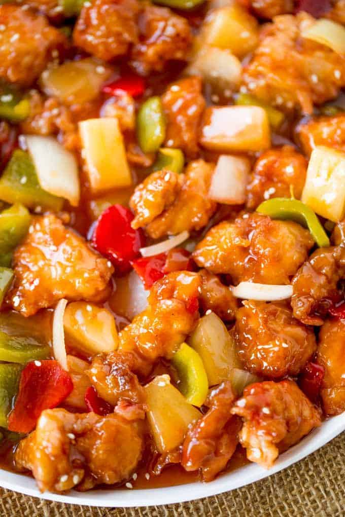 Sweet and Sour Chicken with crispy chicken, pineapple and bell peppers.