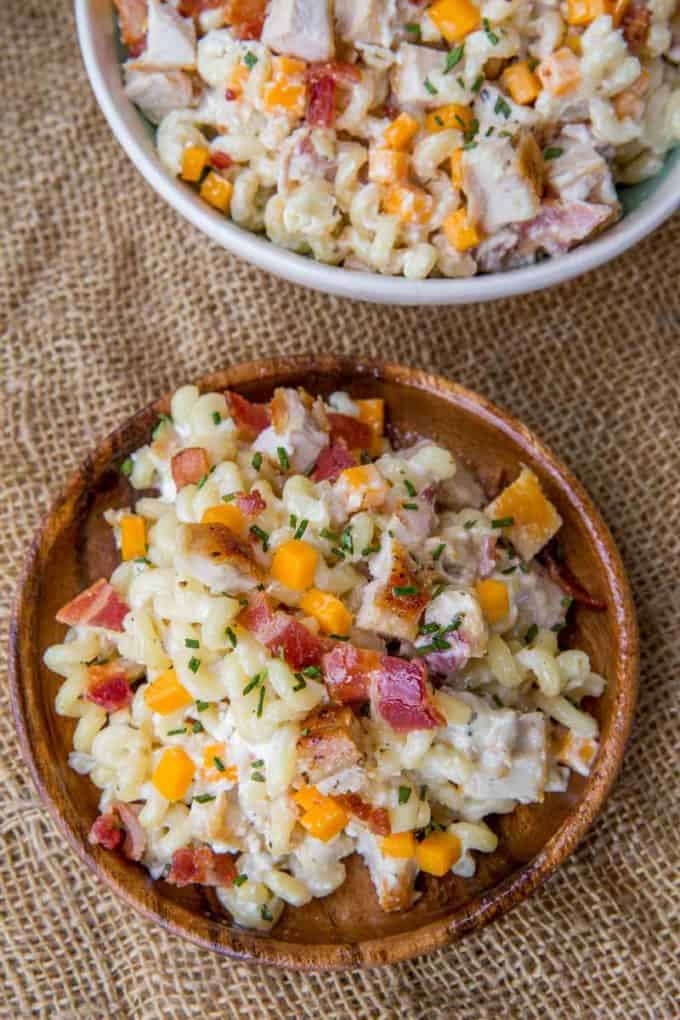 The perfect side dish to your summer bbq is Chicken Bacon Ranch Pasta Salad!
