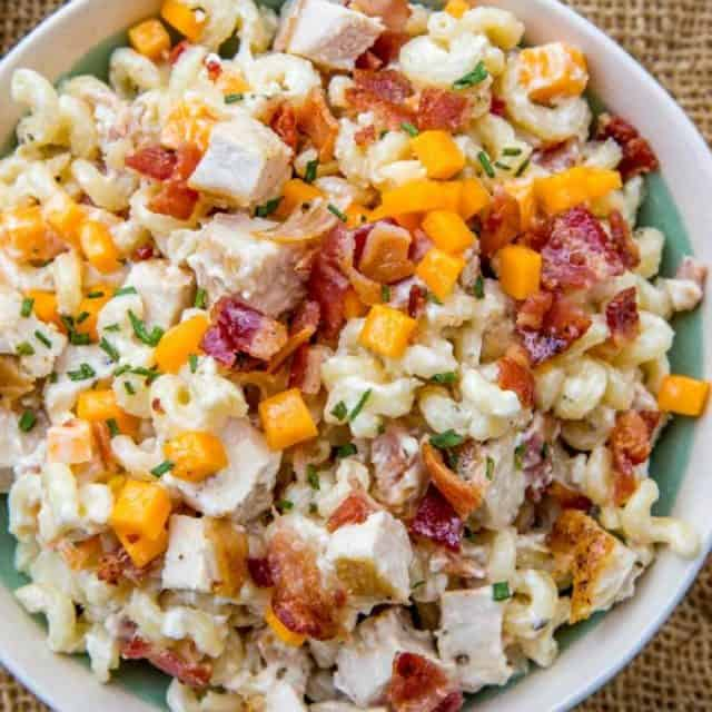 Easy and quick Chicken Bacon Ranch Pasta Salad.