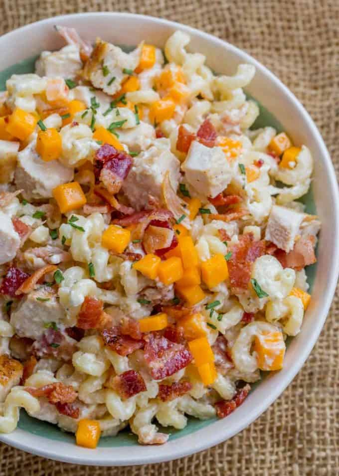 Chicken Bacon Ranch Pasta Salad with just a handful of ingredients will be the most popular side dish at your summer bbq events and picnics!