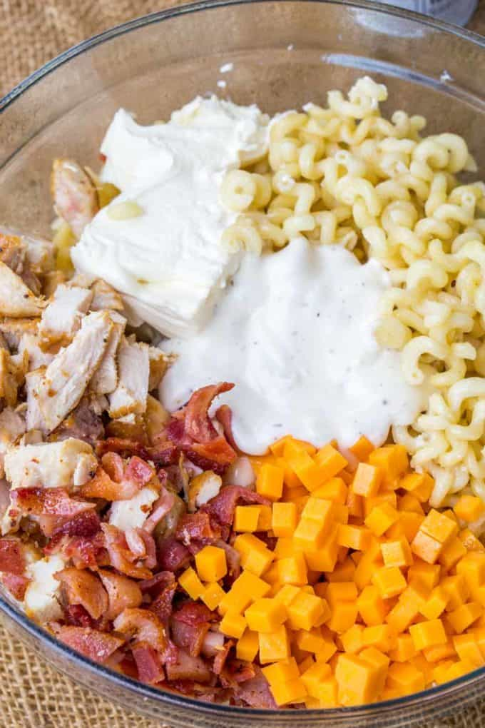 We love this Chicken Bacon Ranch Pasta Salad so much we've made it twice this week!