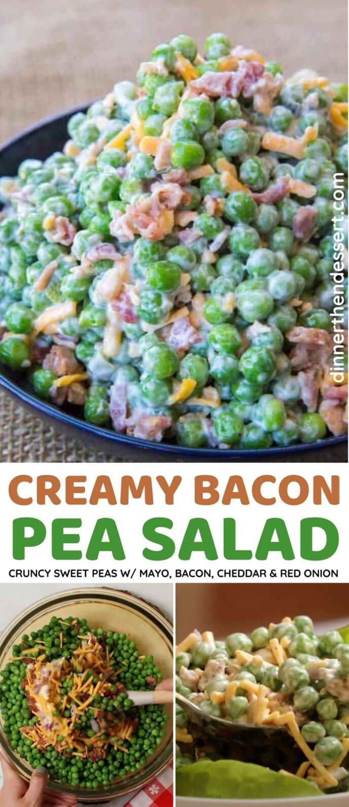 Creamy Bacon Pea Salad Collage