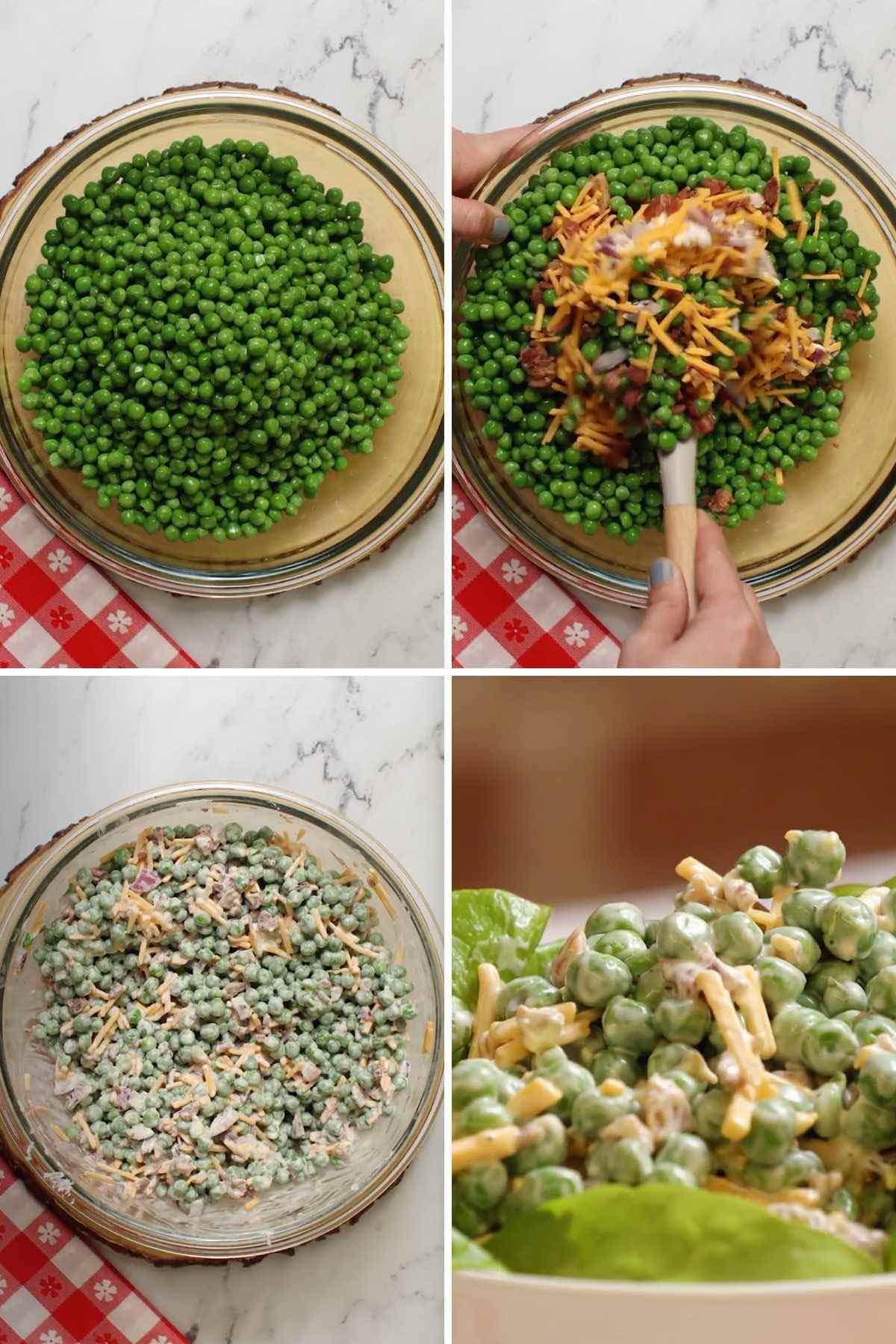 Creamy Bacon Pea Salad collage of prep steps