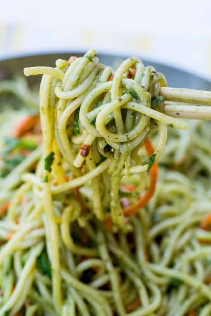 We LOVE this Easy Thai Green Curry Noodles, they take just 20 minutes!