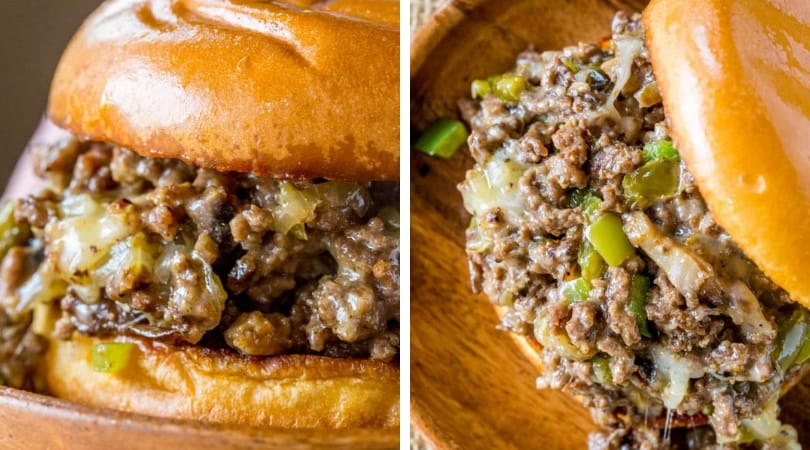 Philly Cheese Steak Sloppy Joes - Dinner, then Dessert