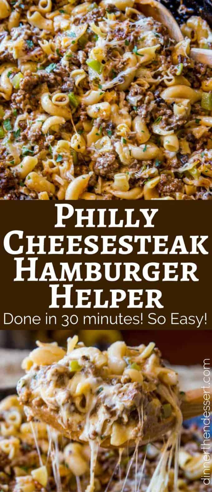 Philly Cheesesteak Hamburger Helper will make you forget all about the boxed type you had as a kid, you'll love this creamy, cheesy cheesesteak pasta.