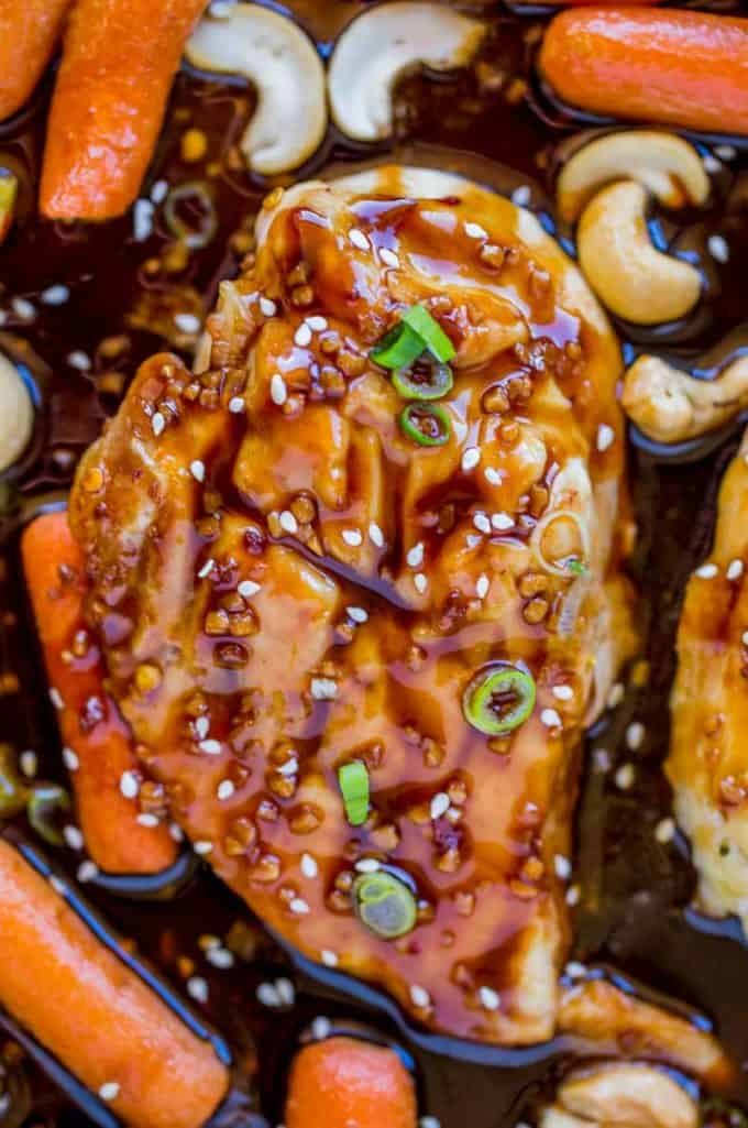Easy to make Sheet Pan Cashew Chicken tastes like takeout but SO MUCH EASIER!