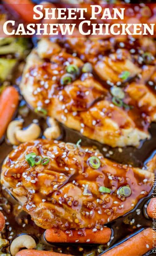 One pan, sheet pan cashew chicken! WE LOVE THIS RECIPE.