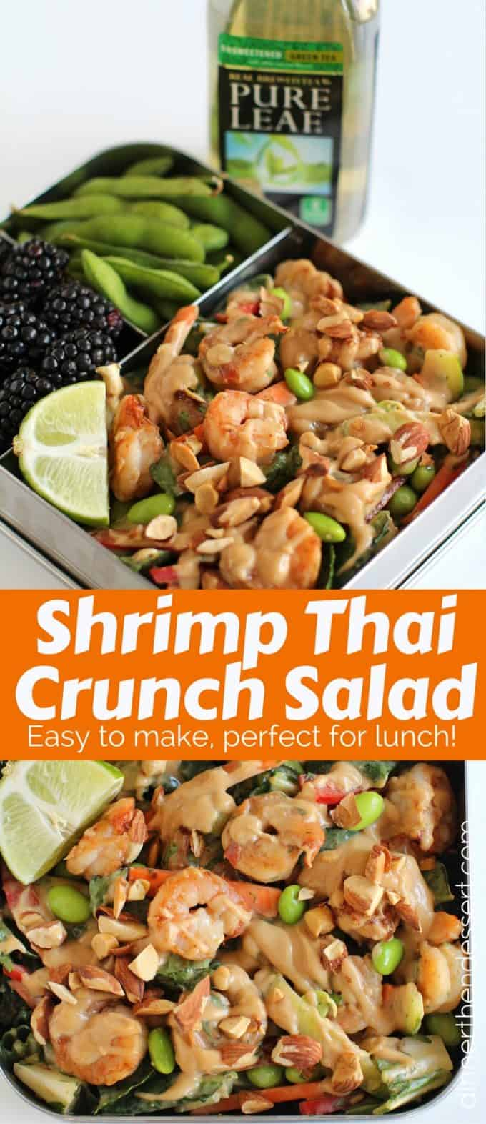 Shrimp Thai Crunch Salad made with a delicious and EASY peanut sesame dressing.