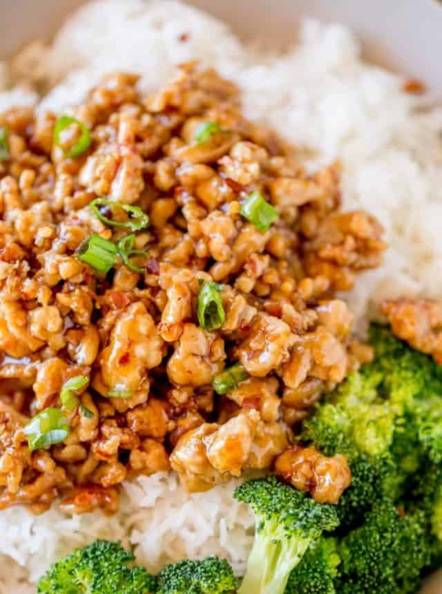 Ground Orange Chicken is made in one pot and only takes 20 minutes using a Panda Express copycat sauce. So much healthier than the original!