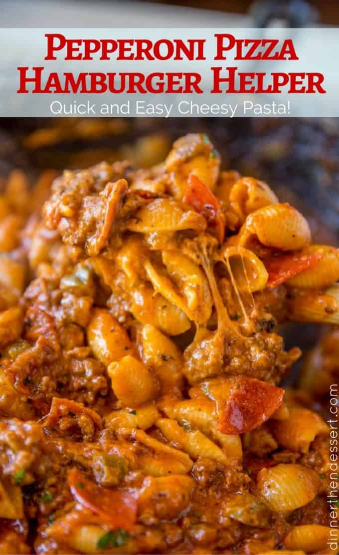 Pepperoni Pizza Hamburger Helper is a quick weeknight dish your whole family will love that has all the flavors of your favorite pepperoni pizza without the takeout!