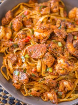 Easy Cajun Jambalaya Pasta with chicken, sausage and shrimp and all the delicious deep Louisiana flavor in just 30 minutes!