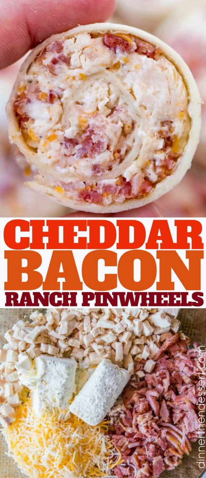 Cheddar Bacon Ranch Pinwheels are the perfect afternoon snack! You'll love them!