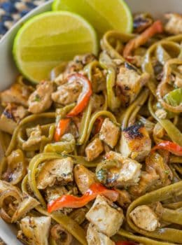 Chicken Tequila Fettucine with creamy tequila jalapeño lime sauce, pasta, bell peppers and red onions is one of the most popular entrees at California Pizza Kitchen for a reason, it's DELICIOUS!