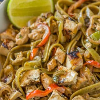 Chicken Tequila Fettucine with?creamy tequila jalape?o lime sauce, pasta, bell peppers and red onions is one of the most popular entrees at California Pizza Kitchen for a reason, it's DELICIOUS!