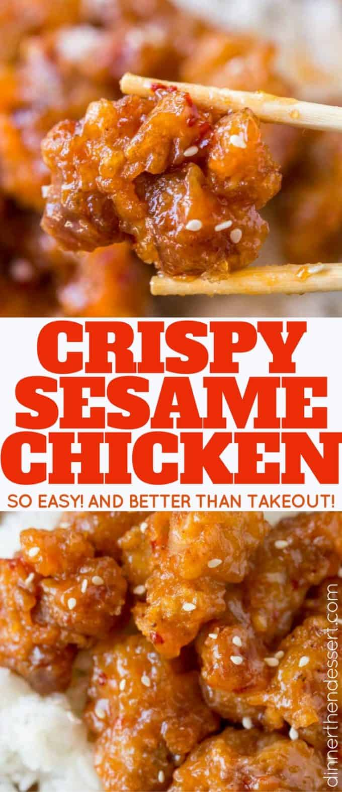 Crispy Sesame Chicken is easy to make with super crispy batter and delicious sesame sauce you'll skip the takeout!