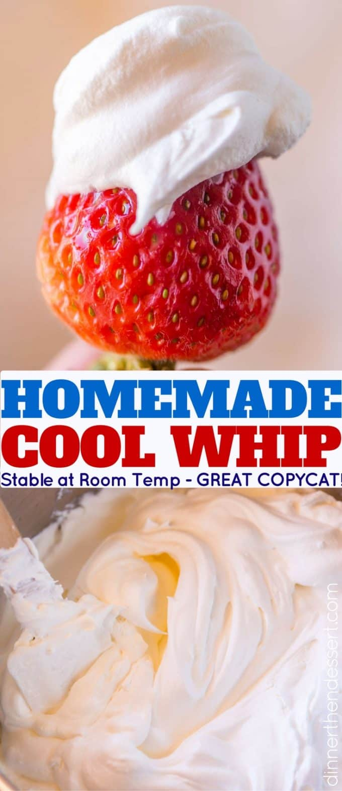 Homemade Cool Whip that is stable and can be frozen and defrosted like the store bought kind but made at home and SO delicious. Perfect for any recipes you're making that ask for Cool Whip!