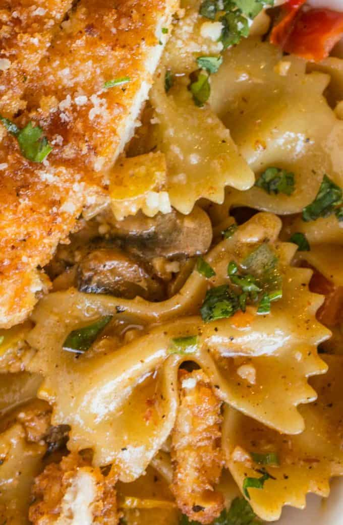 Louisiana Chicken Pasta with crispy Parmesan chicken is the best Cheesecake Factory Copycat ever!