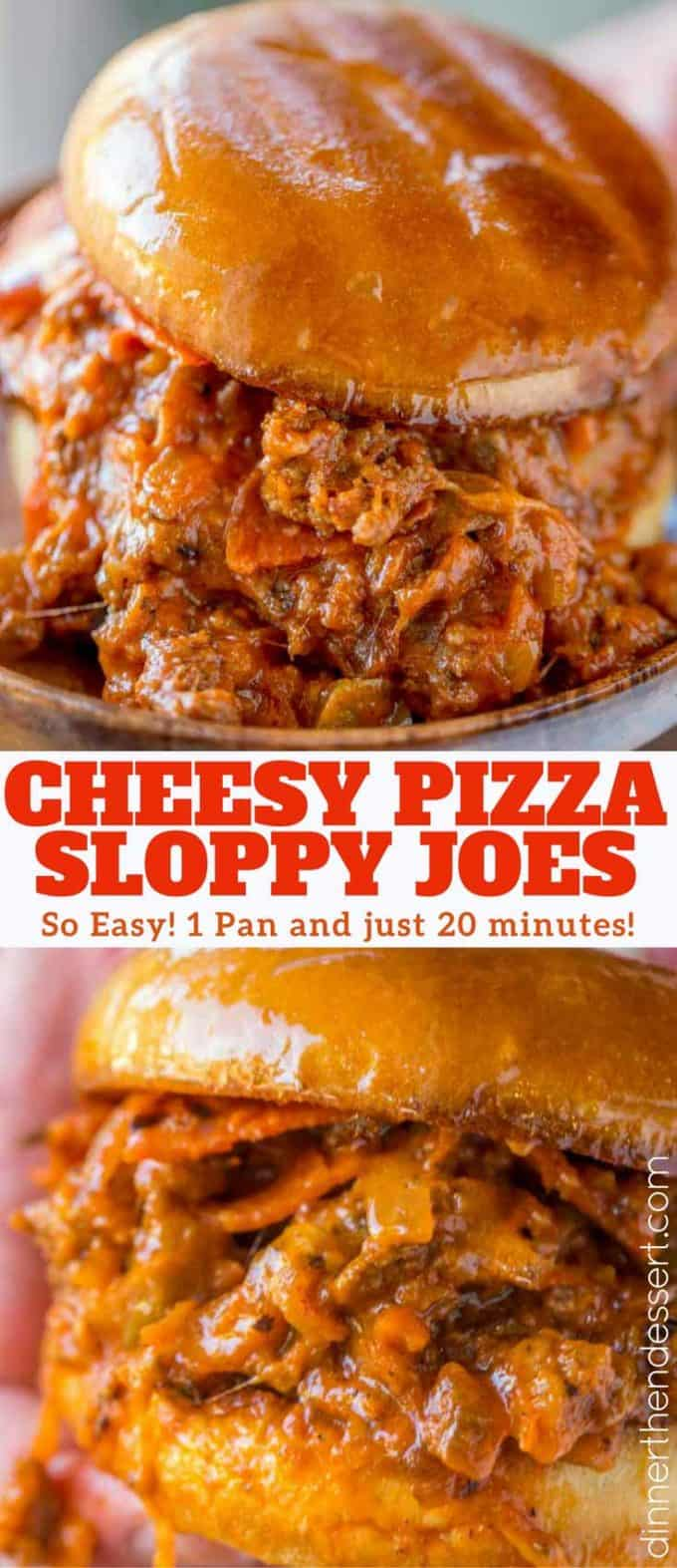 Pizza Sloppy Joes with all your favorite pepperoni pizza flavors and a couple of vegetables your kids won't even notice. Cheesy, sloppy, pizza sloppy goodness!