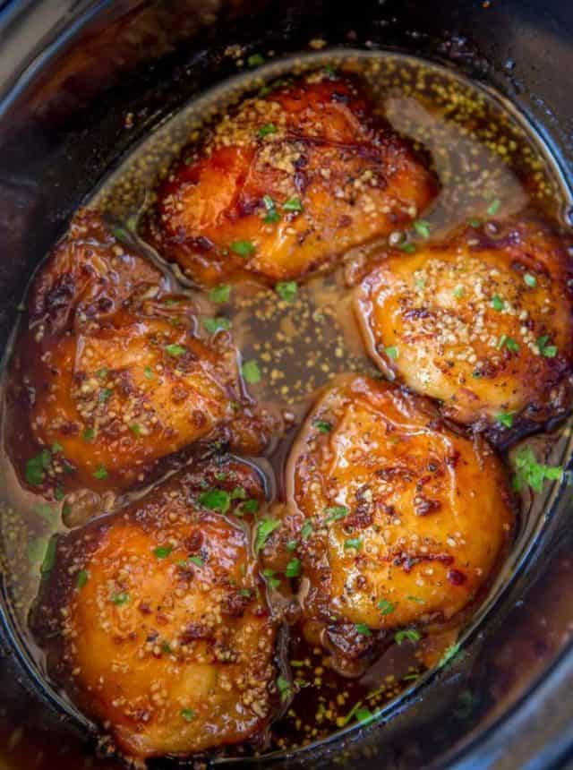 Slow Cooker Brown Sugar Garlic Chicken made with just five ingredients, you can set it in the morning in just minutes and have the perfect weeknight meal!