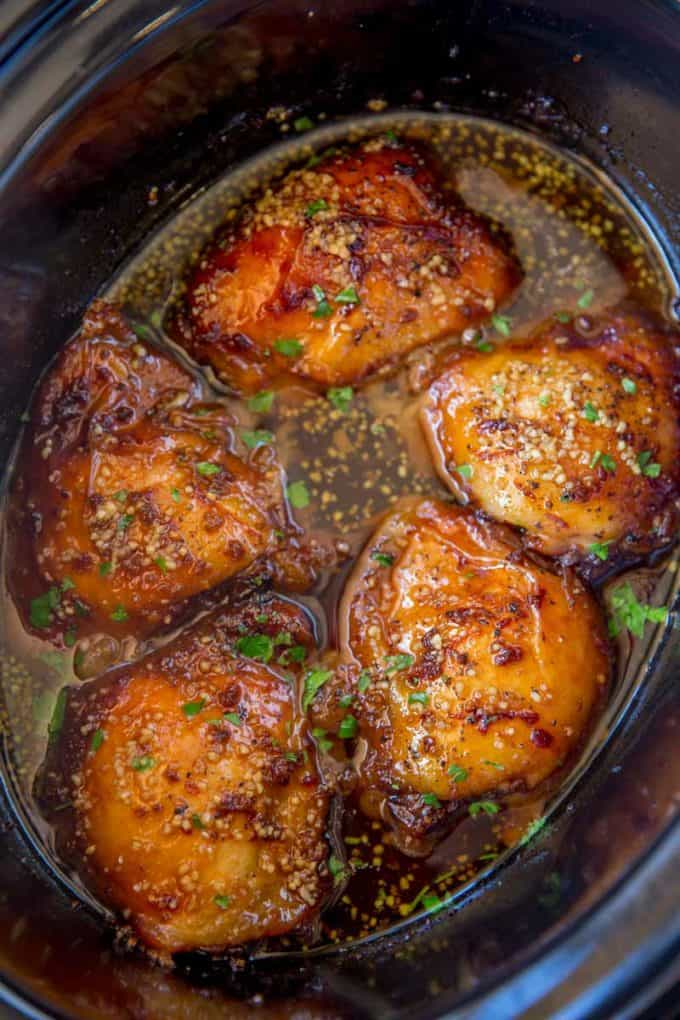 Slow cooker brown sugar garlic chicken dinner then dessert slow cooker brown sugar garlic chicken made with just five ingredients you can set it in minutes and have the perfect weeknight meal forumfinder Gallery