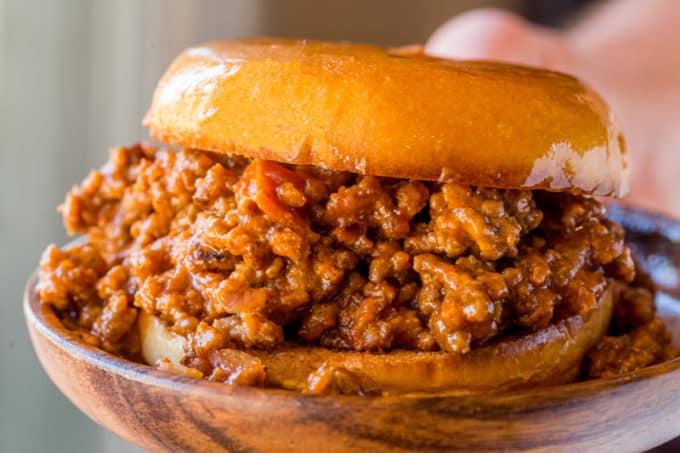 Saucy Hamburger Bun filled with Sloppy Joes