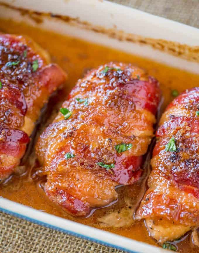 Bacon Brown Sugar Garlic Chicken, the best weeknight meal! Sticky, crispy, sweet and garlicky.